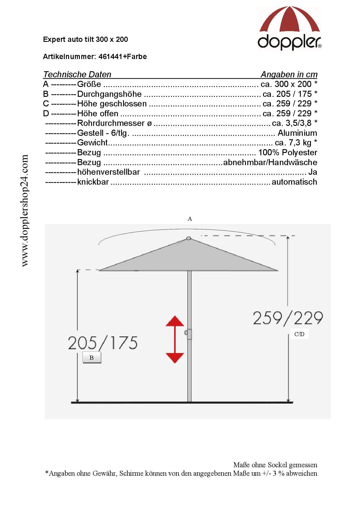 Doppler Kurbelschirm Expert auto tilt 300x200cm 3x2m Balkonschirm knickbar Terra