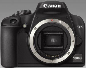 Canon EOS 1000D black with third-party manufacturer lens