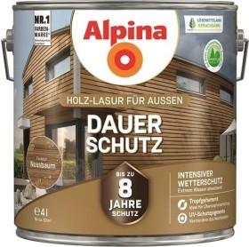 Alpina Farben Dauer-Schutz Holz-Lasur außen Holzschutzmittel nussbaum, 4l