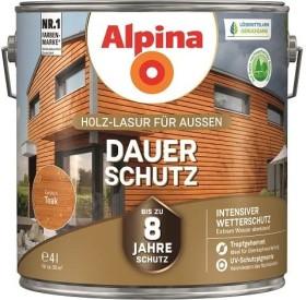 Alpina Farben Dauer-Schutz Holz-Lasur außen Holzschutzmittel teak, 4l