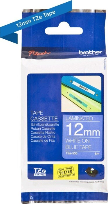 Brother TZ-535/TZe-535 (12mm, white on blue) -- via Amazon Partnerprogramm