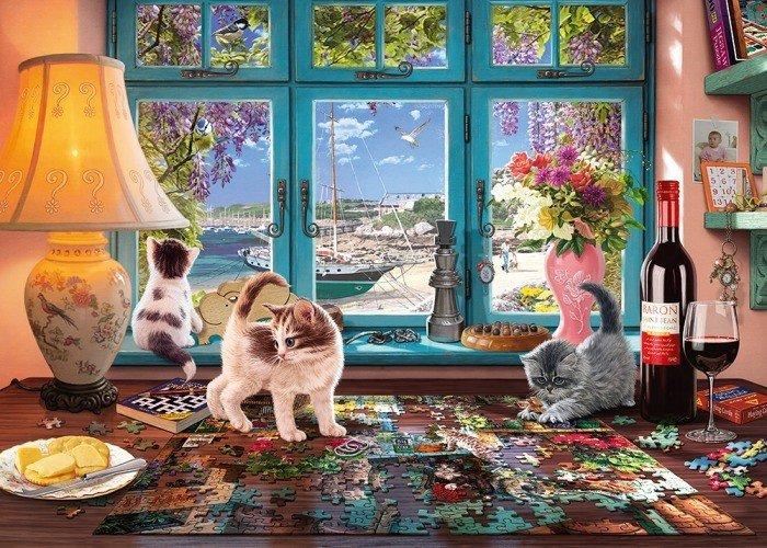 Schmidt Spiele am Gartentisch 1000 Teile Erwachsenenpuzzle Puzzle Steckpuzzle Puzzles & Geduldspiele