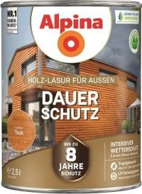 Alpina Farben Dauer-Schutz Holz-Lasur außen Holzschutzmittel teak, 2.5l