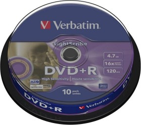 Verbatim LightScribe DVD+R 4.7GB 16x, 10-pack Spindle (43576)