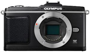 Olympus PEN E-P2 black body with VF-2 external viewfinder (N3609392/E0414867)