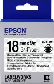 Epson LK-5TBW Beschriftungsband stark haftend 18mm, schwarz/transparent (C53S655011)