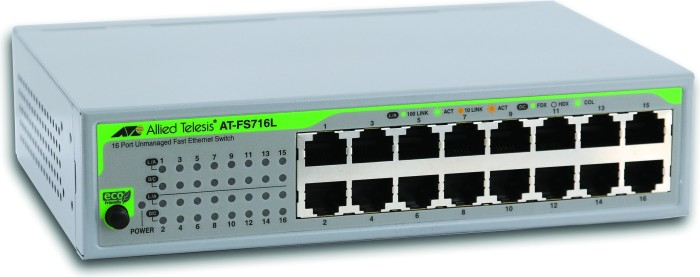 Allied Telesis FS700 Desktop Switch, 16x RJ-45 (AT-FS716L)