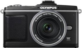 Olympus PEN E-P2 schwarz mit Objektiv M.Zuiko digital 17mm 2.8 Pancake und VF-2 Aufstecksucher (N3609792/E0414869)