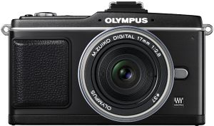 Olympus PEN E-P2 black with lens M.Zuiko digital 17mm 2.8 Pancake and VF-2 external viewfinder (N3609792/E0414869)