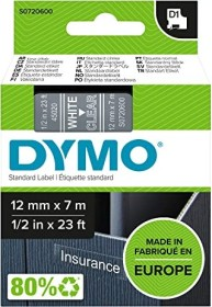"""45020 S0720600 White on Clear Label Tape For DYMO D1 LabelManager 1//2/"""" 12MM"""