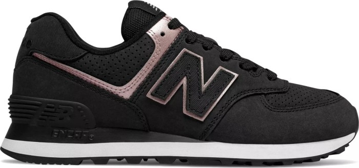 New Balance 574 Nubuck black/champagne metallic (Damen) (WL574-NBK)