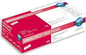 Unigloves Red Pearl Disposable Gloves M, 100 pieces (9803)