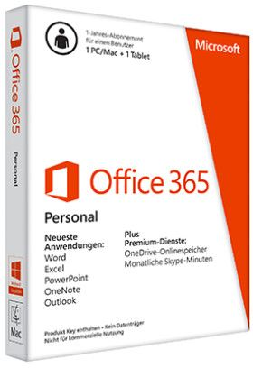 Microsoft Office 365 Personal, 1 Jahr, PKC (deutsch) (PC/MAC) (QQ2-00047/QQ2-00538)
