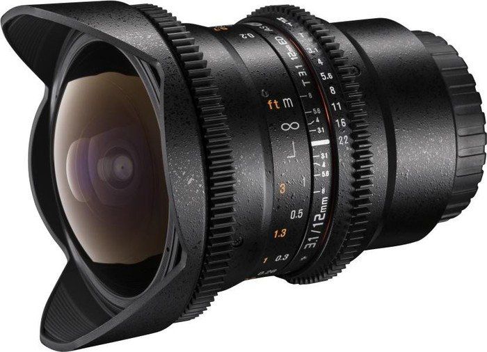Walimex Pro 12mm 3.1 Fisheye VDSLR für Canon EF schwarz (20602)