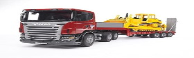 Bruder Profi-Serie Scania R-Serie LKW mit Tieflader und CAT Bulldozer (03555)