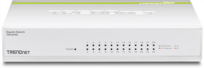 TRENDnet TEG-S GREENnet desktop Gigabit switch, 24x RJ-45 (TEG-S24D)
