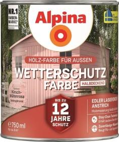 Alpina Farben Wetterschutz-Farbe halbdeckend außen Holzschutzmittel kirschlütenrosa, 750ml