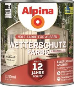Alpina Farben Wetterschutz-Farbe halbdeckend außen Holzschutzmittel kreideweiß, 750ml