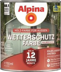 Alpina Farben Wetterschutz-Farbe halbdeckend außen Holzschutzmittel steingartenblau, 750ml