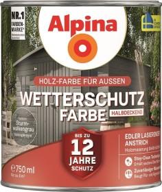Alpina Farben Wetterschutz-Farbe halbdeckend außen Holzschutzmittel sturmwolkengrau, 750ml