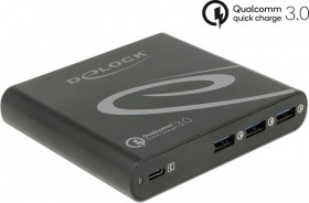 DeLOCK USB Charger 1x USB Type-C PD 85W + 3x USB Type-A Qualcomm Quick Charge 3.0 black (41431)