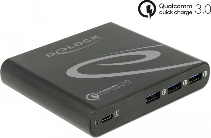 DeLOCK USB Charger 1x USB Type-C PD 85W + 3x USB Type-A Qualcomm Quick Charge 3.0 schwarz (41431)