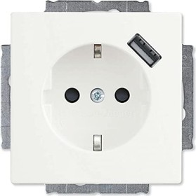 Busch-Jaeger USB-socket with increased contact protection, studio white (20 EUCBUSB-84)