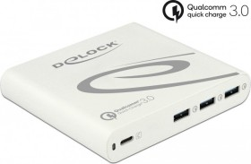DeLOCK USB Charger 1x USB Type-C PD 85W + 3x USB Type-A Qualcomm Quick Charge 3.0 white (41432)