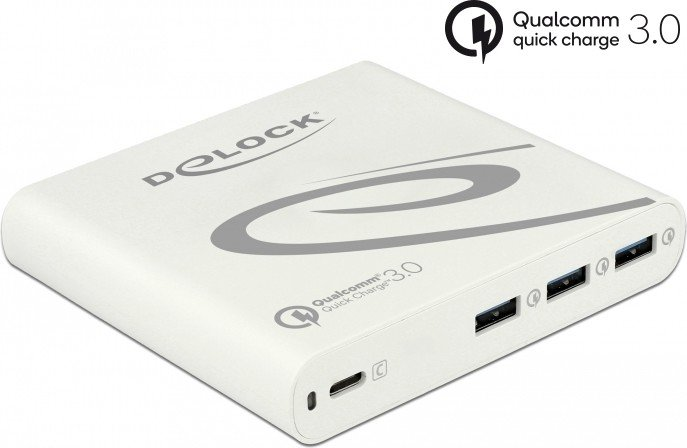 DeLOCK USB Charger 1x USB Type-C PD 85W + 3x USB Type-A Qualcomm Quick Charge 3.0 weiß (41432)