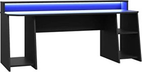 Forte Tezaur Schreibtisch schwarz, LED-Beleuchtung, Kopfhörerhalter, Getränkehalter (TZRB215B3-Z113)