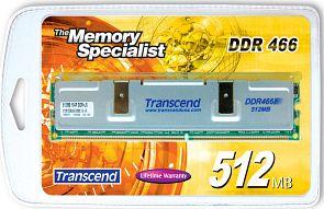 Transcend DIMM 512MB, DDR-466, CL3-4-4-8 (TS64MLD64V2F)