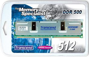 Transcend DIMM 256MB, DDR-500, CL3-4-4-8 (TS32MLD64V5F)