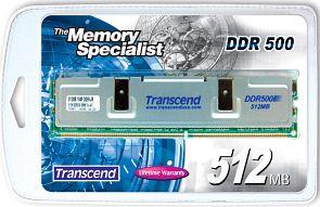 Transcend DIMM 512MB, DDR-500, CL3-4-4-8 (TS64MLD64V5F)