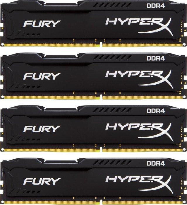 Kingston HyperX Fury schwarz DIMM Kit 64GB, DDR4-2933, CL17-19-19 (HX429C17FBK4/64)