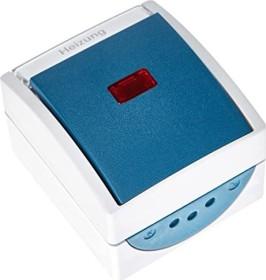 Busch-Jaeger Ocean Wippkontrollschalter, grau/blaugrün (2601/6 SKWNH-53)