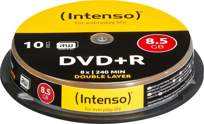 Intenso DVD+R 8.5GB DL 8x, 10-pack Spindle (4311142)