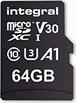Integral High Speed R100/W30 microSDXC 64GB Kit, UHS-I U3, A1, Class 10 (INMSDX64G-100V30)