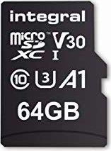 Integral High Speed R100/W30 microSDXC 64GB Kit, UHS-I U3, A1, Class 10 (INMSDX64G-100V30) -- via Amazon Partnerprogramm