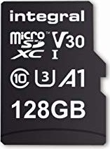 Integral High Speed R100/W30 microSDXC 128GB Kit, UHS-I U3, A1, Class 10 (INMSDX128G-100V30)
