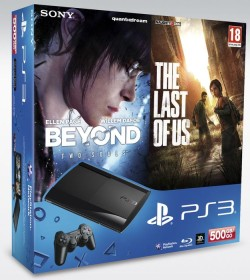 Sony PlayStation 3 Super Slim - 500GB The Last of Us & Beyond: Two Souls Bundle schwarz
