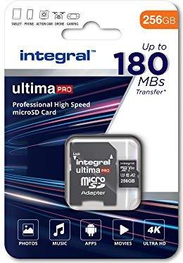 Integral ultima PRO R180/W130 microSDXC 256GB Kit, UHS-I U3, A2, Class 10 (INMSDX256G-180V30)