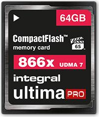 Integral ultima PRO UDMA7 R130/W105 CompactFlash Card [CF] 866x 64GB (INCF64G866X)