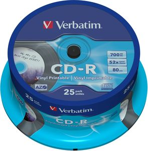 Verbatim Azo Data Vinyl CD R 80min 700MB 52x 25 Pack Spindle Printable 43710 Starting From 2499 2019