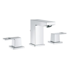 """Grohe Eurocube 3-hole bathroom sink tap 1/2"""" M-Size with drain remote chrome (20351000)"""