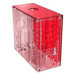 Various Crystal clear acrylic Midi-Tower red (without power supply)