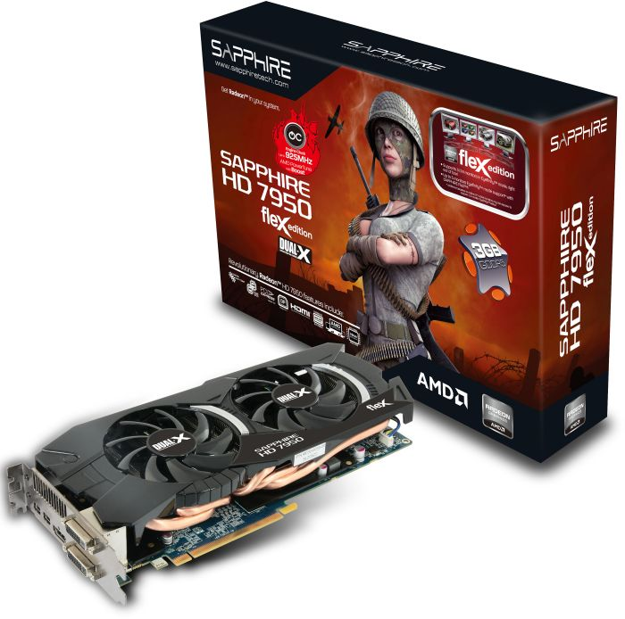 Sapphire Radeon HD 7950 FleX OC Boost, 3GB GDDR5, 2x DVI, HDMI, 2x mini DisplayPort, full retail (11196-17-40G)