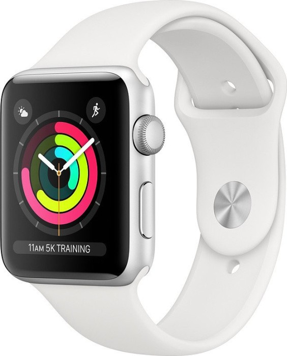 Apple Watch Series 3 (GPS) Aluminium 42mm silber mit Sportarmband weiß (MTF22ZD/A)