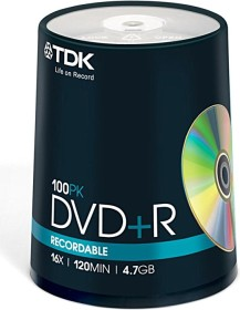 TDK DVD+R 4.7GB 16x, 100-pack Spindle (T19504)
