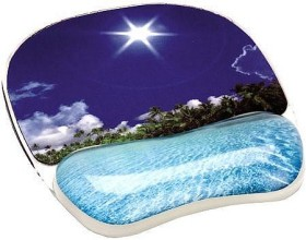 Fellowes Photo gel wrist rest with mousepad, tropical beach (9202601)