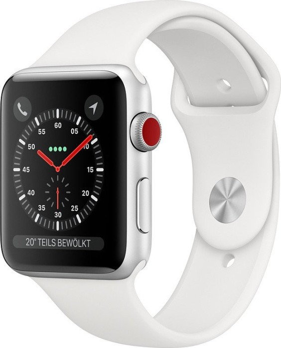 Apple Watch Series 3 (GPS + Cellular) Aluminium 42mm silber mit Sportarmband weiß (MTH12ZD/A)